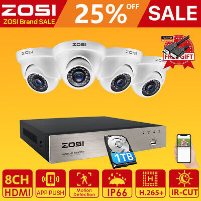 ZOSI 8CH HD 720P DVR HDMI 1500TVL Outdoor 3.6mm CCTV Home Security Camera System