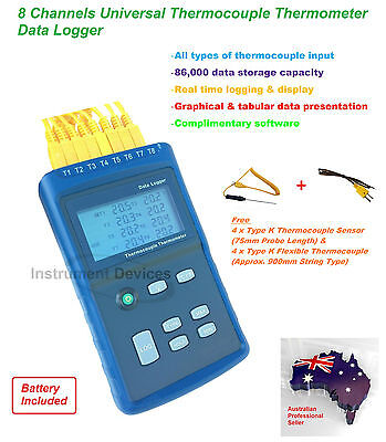 Pro 8 Channels All Types Thermocouple Thermometer Data Logger, 86000 Data Log