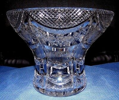 Vintage Cut crystal glass heavy posy flower vase or bowl