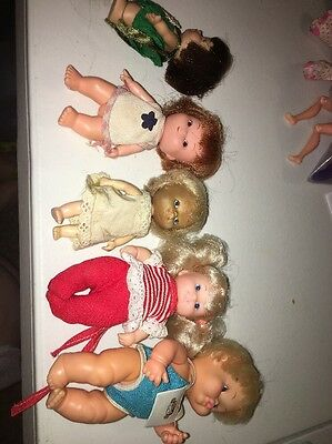 Lot Of 5 Vintage Dolls Dirty Rubber Plastic 1972 Remco  1965 Peewee & Unnamed