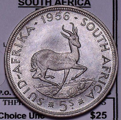 S0154 South Africa 1956  5 Shillings deer combine shipping