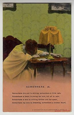 "POSTCARD - Bamforth Song Card ""Somewhere (2)"" sentimental romance theme #4626/2"