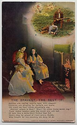 "POSTCARD - Bamforth Song Card ""The Bravest the Best (3)"" patriotic theme #4789/3"