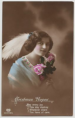POSTCARD - glamour, beautiful lady, feather in hair, xmas greeting, tinted RP