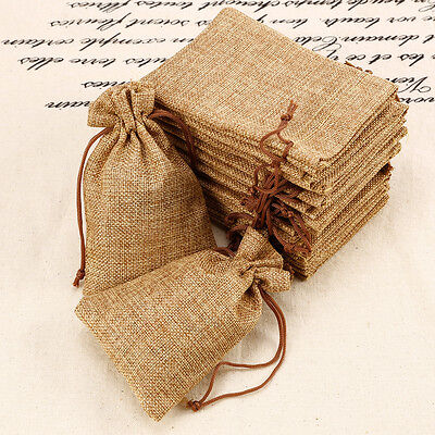 20x Hessian Burlap Favour Bags Wedding Bomboniere Rustic Pouch Bridal Party Gift