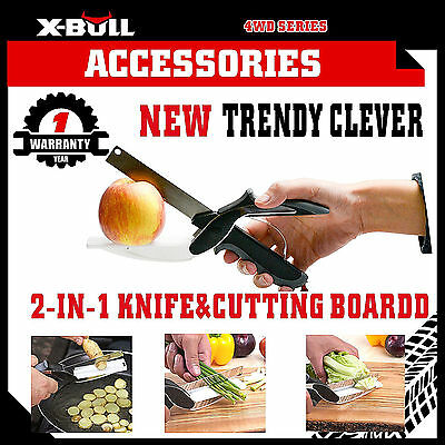 2 in 1 Clever Cutter Knife Cutting Board Scissors Slicer Choppers Food Slicer