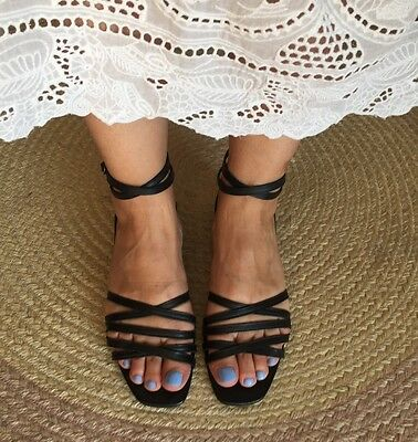 Diana Ferrari Black Leather Strappy Sandals Vintage 7.5 / 8