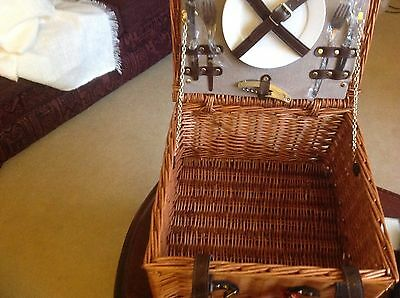 Vintage  Picnic Hamper Basket with plates and stainless  Cutlery for 2 persons