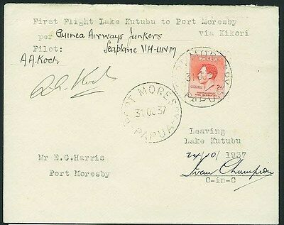 Papua : 1937 First  Flight Card Lake Kutubu Port Moresby Signed Only 17 flown