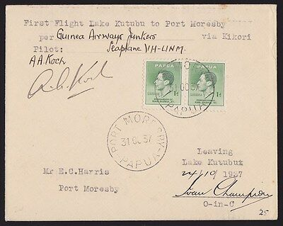 Papua : 1937 First Flight Cover Lake Kutubu Port Moresby Signed ONLY 17 FLOWN!