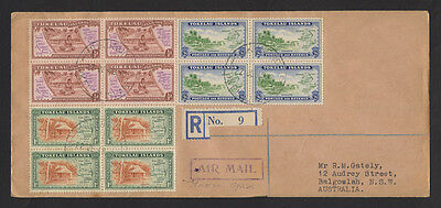 TOKELAU Is 1948 Village  set of 3 in blks of 4 on  Registered FDC to Australia
