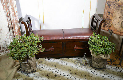 Leather Bench 2-Seater Settee Box Chest Drawers Teakwood Retro Vintage