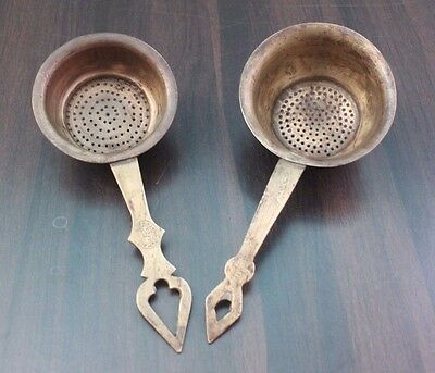 Lot of Two 1900's Old Antique Beautiful Brass Kitchen Strainer / Kitchenware#854