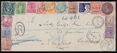 New South Wales : 1901 Registered cover with ½d to 5/- set to England .