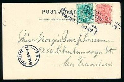 Australia : 1905 QV Arms picture postcard to USA via New Zealand Packet Boat pmk