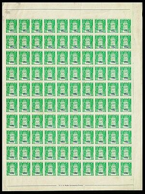 New South Wales : 1966 Stamp Duty 15c COMPLETE SHEET ERROR IMPERF OFFSET MNH **.