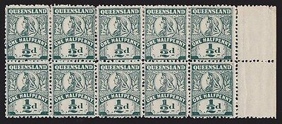 Queensland : 1905 QV ½d block RARE Perf 12  with VARIETY ACSC cat $5000++