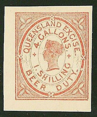 Queensland: Beer Duty Revenue 1885 QV 1/-   IMPERF.VERY RARE!