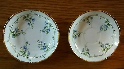 A Pair Of Delightful Herend Handpainted Saucers With Blue Floral & Gilt Design