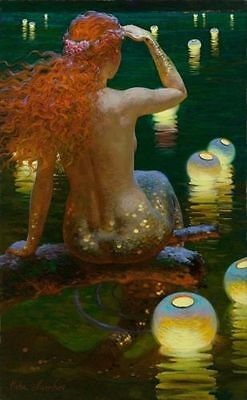 """HD Print on canvas oil painting ,Mermaid,Naked,Red hair,lamp """"16x24"""
