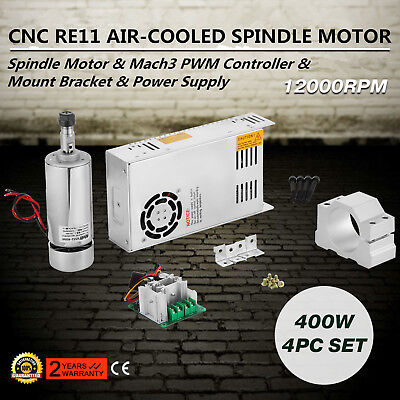 CNC 400W Brushless Spindle Motor 4pcs Set Controller Tool Kit Driver ON SALE