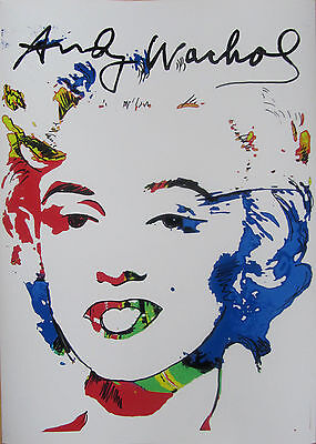 MARILYN PRINT AND OVERPAINTING SIGNED with ANDY WARHOL ERA LIECHTENSTEIN