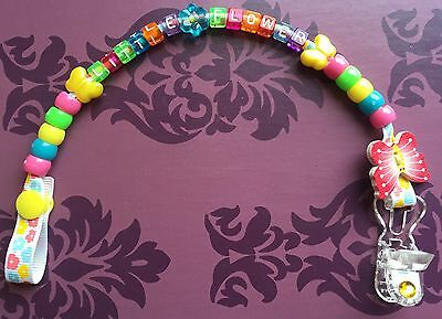 Personalised Cute Dummy Clip for boys and girls Holder/ Strap Birthday present