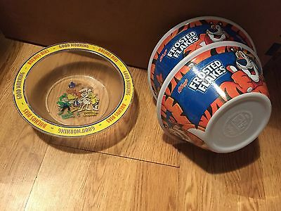 Lot of 3 90s Cereal Bowls. 2 Kelloggs Tony the Tiger & 1 General Mills Brand