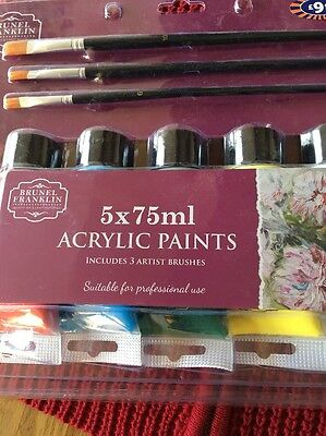 5 X 75ml Acrylic paints Including 3 Artist Brushes