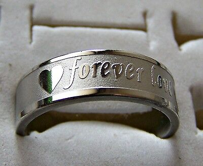 Forever _ Love  ~  Size:8  ~ Wide ~ S/steel  ~ Ring -- (Great_Christmas_Gift)