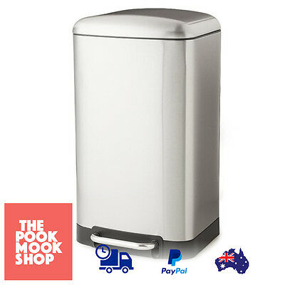 Rectangle Stainless Steel FOOT Pedal Bin 30L Close Lid Garbage, Home Trash Can