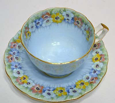 Aynsley Cup And Saucer  Blue With A  Pansy Floral Design