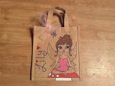BNWT Lily Little Girl Bag  Designer Hessian Pink Sparkly Fairy 11X10X4 Ins