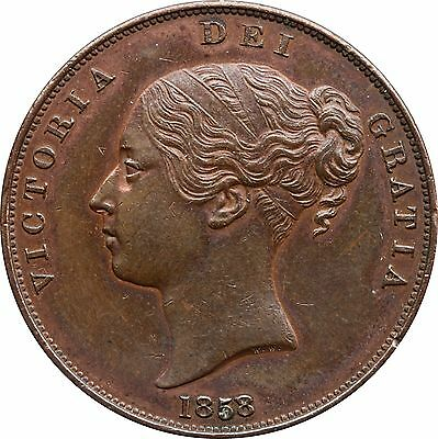 1858 Victoria young head penny 8 over 7