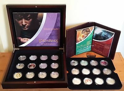 Lord of the Rings 'Scenes in Silver' 24 N Zealand 925 Silver $1 coin set + more