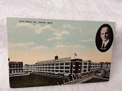 PC8 1900's Ford Motor Co Detroit MICH MI 4000 cars Daily Henry Ford Post Card