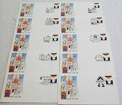 1986 - Ten Australian Papal Visit First Day Covers