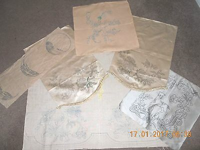 6 vintage antique transfer printed embroidery projects including cushion covers