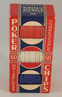 POKER CHIPS Unbreakable Noiseless Embossed Box 60 Red White Blue Paperboard VTG