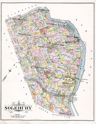 1891 Map of Solebury Township Bucks County Pennsylvania