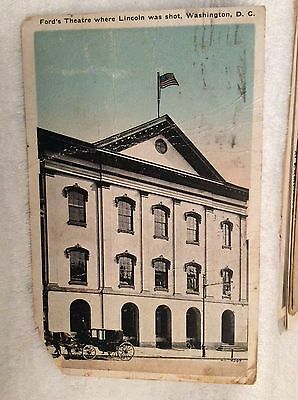 PC12 1900s Ford Theater Lincoln Shot Washington DC Carriage Horse RPPC Post Card