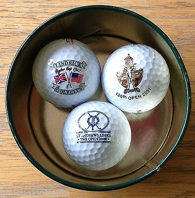 2000 & 2001 OPEN CHAMPIONSHIP, 1957 RYDER CUP 3 X LOGO GOLF BALLs IN DISPLAY TIN