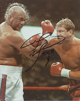 TOMMY MORRISON vs GEORGE FOREMAN SIGNED 8X10 PHOTO BOXING PICTURE AUTOGRAPHED