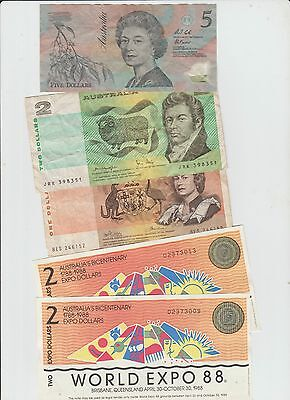 Australia Lot Of Five Old Banknotes #2