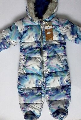 Baby Girl BNWT Winter Unicorn Print Fleece Lined Snowsuit NEXT Age 9-12 Months