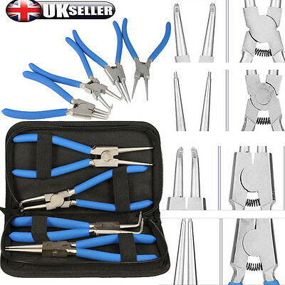4x 7inch Extra Long Nose Pliers Set Straight Bent Tip Mechanics Hand Tools +Bag