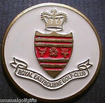 Ball Marker Hand Painted Golf Design Coin Royal Eastbourne Golf Club  16 Yrs Old