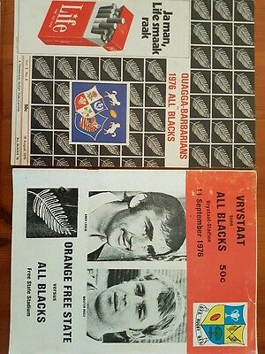 1976 New Zealand V Quagga Barbarians And Freestate - 2 Rugby Programmes