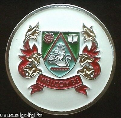 Ball Marker Hand Painted Golf Design Coin Welcombe Golf Club  England 16 Yrs Old