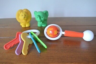 """Vintage Kiddie Products """"The First Years"""" baby toys:rattle,keys, squeeky animals"""